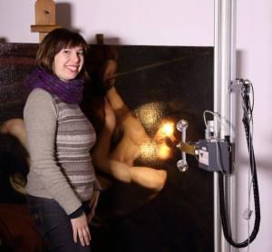 Il Caravaggesco di Empoli durante le analisi nel laboratorio di Art-Test a Firenze