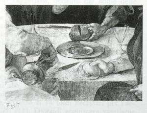 figura 7) Pontormo, Cena in Emmaus (part.). Firenze, Uffizi