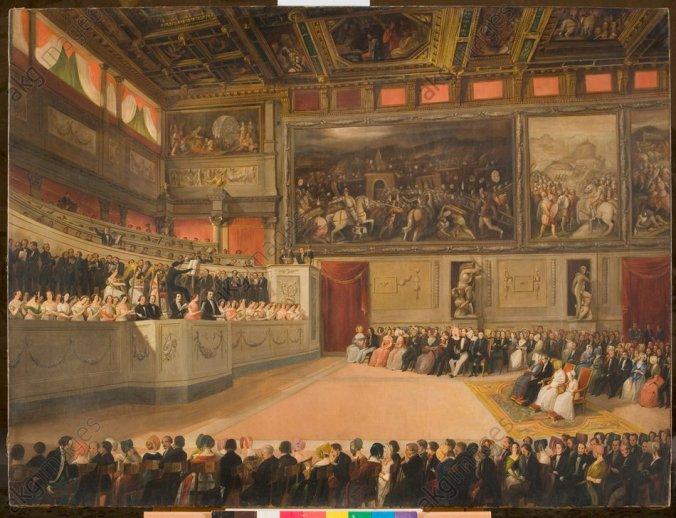 F.Folchi, Konzert im Saal der Fünfhundert in Florenz - - F.Folchi, concert dans la salle des 500 au Palazzo Vecchio à