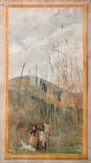 La Falconiera. La stesa dei panni. Sala da pranzo. 1868. Tempera su muro