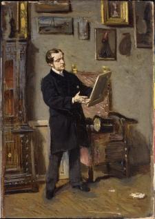 Autoritratto mentre osserva un quadro. 1865 circa. Olio su tela