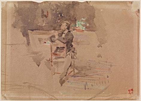 Ritratto di Telemaco Signorini. 1870. Acquerello su carta