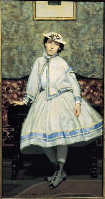 Alaide Banti in abito bianco. 1866. Olio su tela