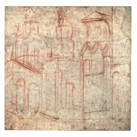 Fig. 10, Ambrogio Lorenzetti, Maestà e Storie di San Galgano, SINOPIE DOPO IL RESTAURO, dalla chiesa di San Galgano a Montesiepi (Chiusdino)