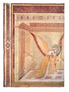 Fig. 12, Ambrogio Lorenzetti, Maestà e Storie di San Galgano, affreschi strappati, dalla chiesa di San Galgano a Montesiepi (Chiusdino) PARTICOLARI DOPO IL RESTAURO