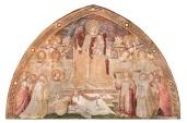Fig. 15, Ambrogio Lorenzetti, Maestà e Storie di San Galgano, affreschi strappati, dalla chiesa di San Galgano a Montesiepi (Chiusdino)  PARTICOLARI DOPO IL RESTAURO