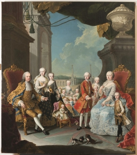Martin van Meytens (Stoccolma 1695 – Vienna 1770) Maria Teresa e Francesco I d'Austria con i figli a Schonbrunn 1756 circa, olio su tela, Firenze, Gallerie degli Uffizi, Museo del Costume e della Moda
