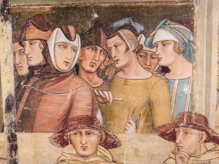 Fig.21, Ambrogio Lorenzetti, Maestà e Storie di San Galgano, affreschi strappati, dalla chiesa di San Galgano a Montesiepi (Chiusdino) PARTICOLARI DOPO IL RESTAURO