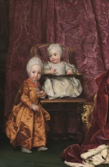Anton Raphael Mengs (Ústí nad Labem 1728 – Roma 1779) Doppio ritratto dell'arciduca Ferdinando (Firenze, 6 maggio 1769-8 giugno 1824) e dell'arciduchessa Maria Anna (Firenze, 1 aprile 1770 - Neudorf, 1 ottobre 1809) 1770-1771, olio su tela, Madrid, Museo del Prado