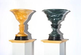 Vaso fisiognomico di Battista Sforza, (1982) 2017, marmo giallo di Siena, 33,5x36 diam; e Vaso fisiognomico di Federico da Montefeltro (stessa data), marmo verde Gressoney tornito, 34x36 diam (cm).