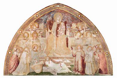 15. Maria Regina in trono con angeli, santi, la Misericordia, la Carità ed Eva 1334-1336 affresco strappato e applicato su supporto di poliestere e fibra di vetro, 301m x 441 cm