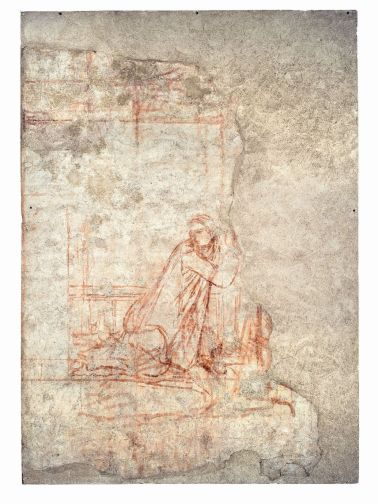 15b Annunciazione 1334-1336 Sinopia strappata e applicata su supporto di poliestere e fibra di vetro, 238 x 441 cm Chiusdino (Siena), chiesa di San Galgano a Montesiepi, cappella