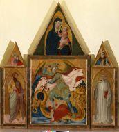 20. San Michele arcangelo che sconfigge il drago, San Bartolomeo, San Benedetto, Madonna col Bambino, San Giovanni Evangelista, San Ludovico di Tolosa 1337 circa Tempera e oro su tavola, 123,1 x 102,5 cm (il pannello centrale), 88,5 x 91,8 cm (la cuspide centrale), 103, 8 x 45 cm (ognuno dei due scomparti laterali), 43 x 35 cm circa (ognuna delle due cuspidi laterali) Dalla Badia a Rofeno (Asciano) e originariamente dal monastero di Monteoliveto Maggiore (Asciano) Asciano (Siena), Museo Civico Archeologico e d'Arte Sacra Palazzo Corboli