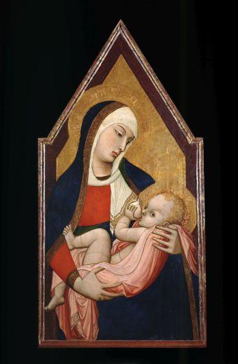 9. Madonna che allatta il Bambino 1325 circa Tempera e oro su tavola, 96 x 49,1 cm Dalla chiesa dell'eremo di San Salvatore a Lecceto (Siena) Siena, Museo Diocesano