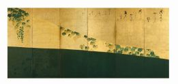 Fig. 10 Tawaraya Sōtatsu (attivo nella prima metà del XVII secolo) Sentiero d'edera Inizio del XVII secolo (periodo Edo) Coppia di paraventi a sei ante Inchiostro, colore e foglia d'oro su carta, cm 158 x 358 (ciascun paravento) Designato importante proprietà culturale (Jūyō bunkazai) Kyoto, Shōkokuji