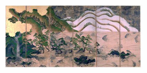 Fig. 2 Paesaggio con sole e luna Metà del XV secolo (periodo Muromachi) Coppia di paraventi a sei ante Inchiostro, colore, foglia d'oro e d'argento su carta, cm 147 x 313,5 (ciascun paravento) Designato importante proprietà culturale (Jūyō bunkazai) Osaka, Amanosan Kongōji