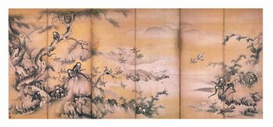 Fig. 3 Shikibu Terutada (attivo alla metà del XVI secolo) Scimmie che giocano lungo un torrente di montagna Metà del XVI secolo (periodo Muromachi) Coppia di paraventi a sei ante Inchiostro e polvere d'oro su carta, cm 148,5 x 339 (ciascun paravento) Designato importante proprietà culturale (Jūyō bunkazai) Kyōto kokuritsu hakubutsukan (Museo Nazionale di Kyoto)