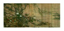 Fig. 5 Kanō Utanosuke (attivo alla metà del XVI secolo) Uccelli e fiori delle quattro stagioni Metà del XVI secolo (periodo Muromachi) Coppia di paraventi a sei ante Inchiostro e colore su carta, cm 154,2 x 348,2 (ciascun paravento) Tōkyō kokuritsu hakubutsukan (Museo Nazionale di Kyoto)