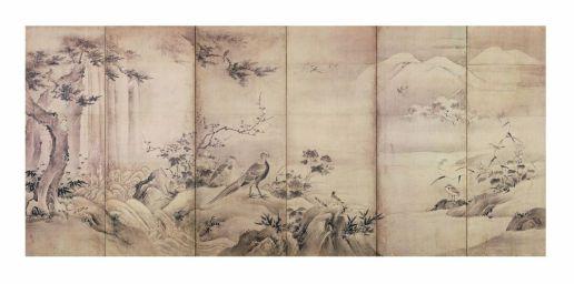 Fig. 6 Kanō Shōei (1519 – 1592) Uccelli e fiori delle quattro stagioni Metà del XVI secolo (periodo Momoyama) Coppia di paraventi a sei ante Inchiostro su carta, cm 156,5 x 350,4 (ciascun paravento) Kyōto kokuritsu hakubutsukan (Museo Nazionale di Kyoto)