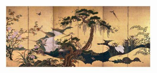 Fig. 7 Kanō Einō (1631 – 1697) Uccelli e fiori in primavera ed estate Seconda metà del XVII secolo (periodo Edo) Coppia di paraventi a sei ante Inchiostro, colore e foglia d'oro su carta, cm 153 x 361 (ciascun paravento) Tokyo, Santori bijutsukan (Museo d'Arte Suntory)