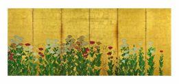 Fig. 8 Kanō Shigenobu (attivo nella prima metà del XVII secolo) Spighe di grano e papaveri Prima metà del XVII secolo (periodo Edo) Coppia di paraventi a sei ante Inchiostro, colore e foglia d'oro su carta, cm 151,5 x 363 (ciascun paravento) Tokyo, Idemitsu bijutsukan (Museo d'Arte Idemitsu