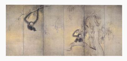 Fig. 9 Hasegawa Tōhaku (1539 – 1610) Scimmie e foresta di bambù Tardo XVI secolo (periodo Momoyama) Coppia di paraventi a sei ante Inchiostro su carta, cm 154 x 361,8 (ciascun paravento) Designato importante proprietà culturale (Jūyō bunkazai) Kyoto, Shōkokuji