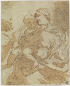 Fig. 2 Elisabetta Sirani(Bologna, 1638-1665) Sacra Famiglia Pietra nera, pennello e inchiostro diluito, carta Firenze, Gallerie degli Uffizi, Gabinetto dei Disegni e delle Stampe