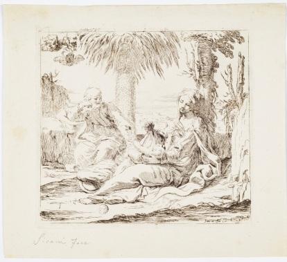 Fig. 3 Elisabetta Sirani(Bologna, 1638-1665) Riposo in Egitto Acquaforte Firenze, Gallerie degli Uffizi, Gabinetto dei Disegni e delle Stampe