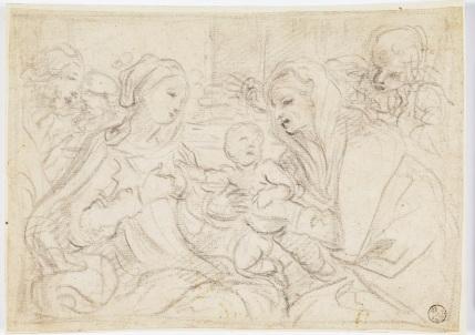 Fig. 4 Elisabetta Sirani(Bologna, 1638-1665) Sacra Famiglia con Sant'Anna e San Gioacchino 1662 circa Pietra nera, carta Firenze, Gallerie degli Uffizi, Gabinetto dei Disegni e delle Stampe