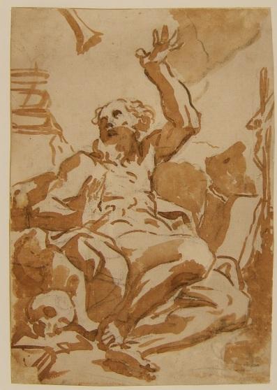 Fig. 7 Elisabetta Sirani(Bologna, 1638-1665) San Girolamo Pietra nera, pennello e inchiostro diluito, carta Bologna, Pinacoteca Nazionale, Gabinetto Disegni e Stampe